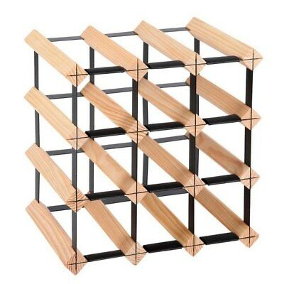 12 Bottles Timber Wine Rack  Heavy Duty Steel Lock And Safe Design Pine Wood NEW