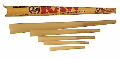 RAW Classic Natural Unrefined Pre-Rolled Cones, Variety Pack 5 Stage Rawket