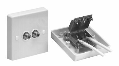Maxview Screened Twin F-Plug Satellite TV Sky HD Flush Outlet Face Plate