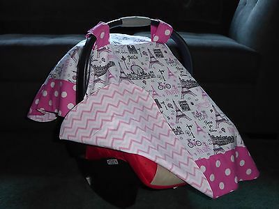 **PARIS SCENE w/EIFFEL TOWER**& polka dots Handmade Baby Car Seat Canopy-Cover