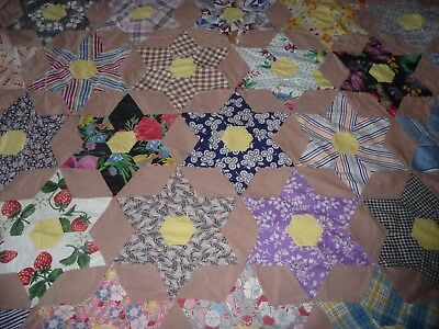 """2 antique quilt tops  cotton feedsack fabric unused 64 X 84"""" 6 point star"""