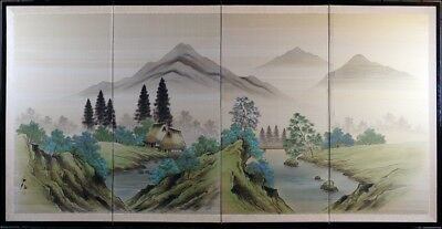 Signed Antique Asian Landscape Watercolor on Silk Folding Screen Hand Painted