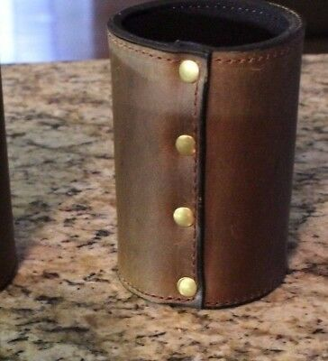 Leather Drink Holder-Amish Made Brown Rugged Leather Drink Koozie
