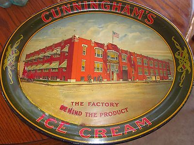 Rare Vintage Original early 1900s Cunningham Ice cream oval large tray