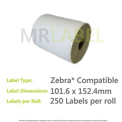 "Zebra Compatible 6x4"" 101.6x152.4mm Direct Thermal Labels - FAST FREE SHIPPING!"