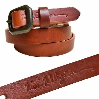 True Religion Womens Basic Thin Brown/tan Leather Belt Womens Belt Loops Small