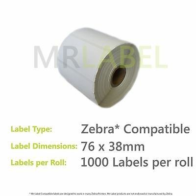 Zebra Compatible 76x38mm Direct Thermal Labels - FAST FREE SHIPPING!