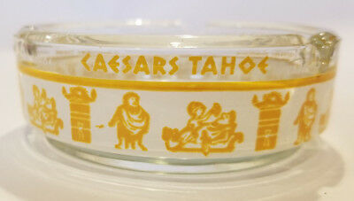 Vintage CAESARS LAKE TAHOE NEVADA Round Glass Ashtray Yello Band Roman Icons