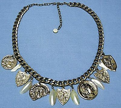 Medieval Barbarian Style Necklace Brass and Shell by Dorothea