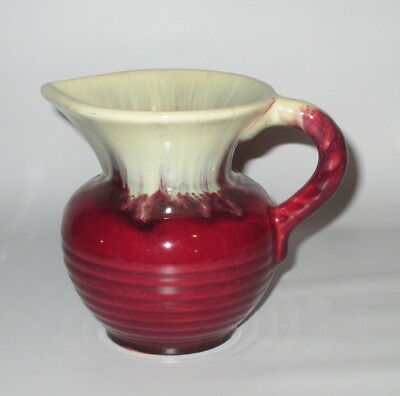 "Handmade Pottery Pitcher Jug Red Cream Drip Small 4 1/2"" Signed Germany"