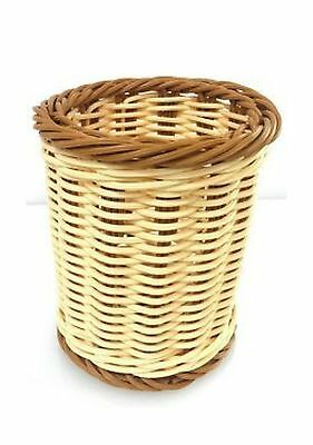 """Natural and Brown Color Poly Woven Bread Basket (Cylinder 5""""D x 5.5""""H)"""
