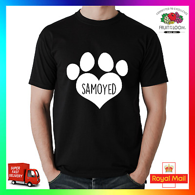 8ad8c6d7 Samoyed T-Shirt Shirt Printed Tee I Love Heart Paw Dog Pet Puppy Dogs Unisex