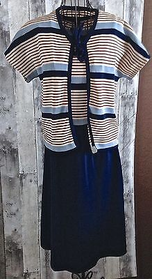 VTG 1960s 2 Pc Mod Dress Jacket Cardigan Stretch Suit Striped Blue Red Small