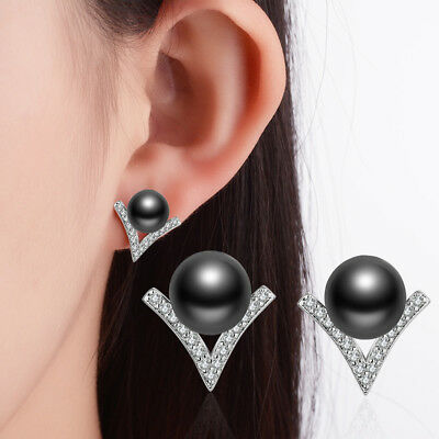 Charm Fashion Solid 925 Sterling Silver Black Pearl Zircon V Ear Stud Earrings