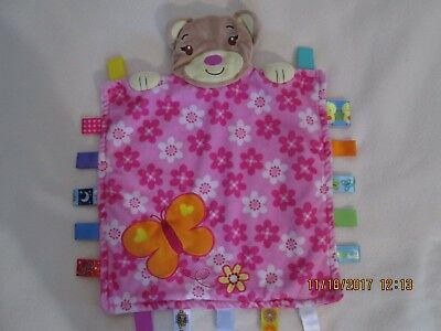 Authentic Taggies Teddy, Butterfly and Flower Taggie, Security Blanket VGC