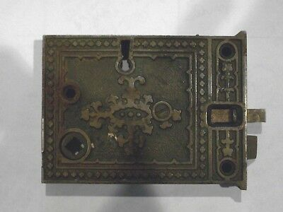"Antique Russel and Erwin Rim Lock 4 5/16 x 3 1/8""   R&E Co."
