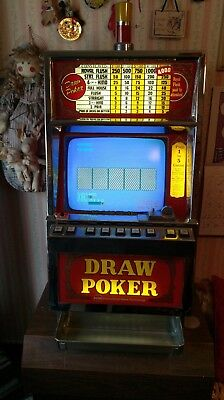 Antique 1984 Igt 25 Cent Draw Poker Working Slot Machine 00