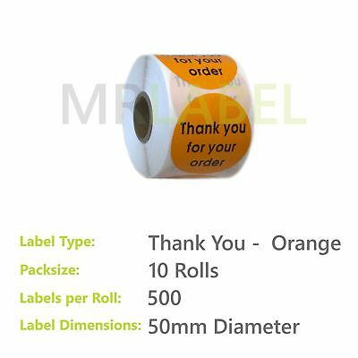 Pack of 10 - Thank you for your order ORANGE - 50 mm diam