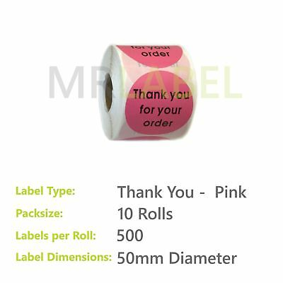 Pack of 10 - Thank you for your order PINK - 50 mm diam