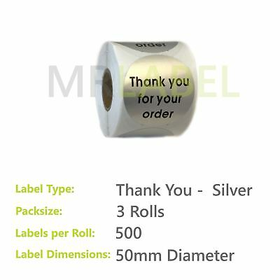 Pack of 3 - Thank you for your order SILVER - 50 mm diam