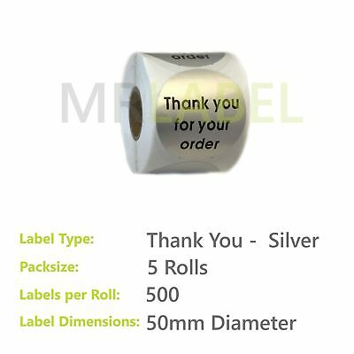 Pack of 5 - Thank you for your order SILVER - 50 mm diam