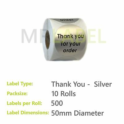Pack of 10 - Thank you for your order SILVER - 50 mm diam