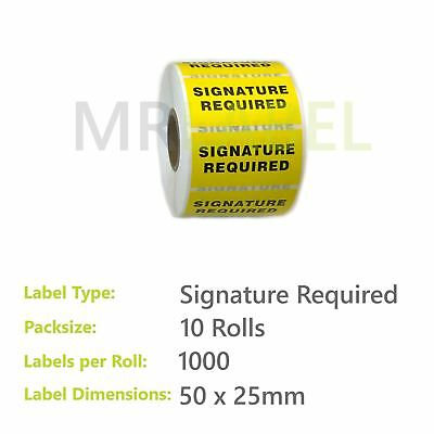Pack of 10 - Signature Required - 50 x 25 mm