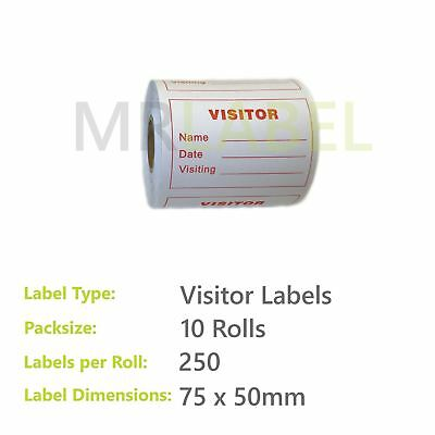 Pack of 10 - Visitor Labels - 75 x 50 mm