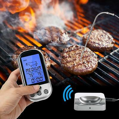 USA Wireless LCD Remote Thermometer For BBQ Grill Meat Kitchen Oven Food Cooking