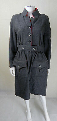 Original Vintage 1960s Grey Wool Jean Varon Dress UK Size 12