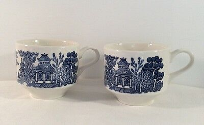Churchill England Blue Willow Set Of Two Coffee Tea Cups Mugs  Vintage