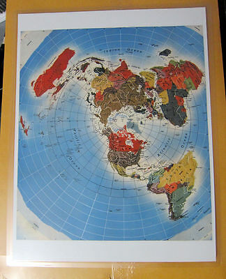 Laminated Flat Earth Map of the World mini map Freedom of the air 9 x 11.5
