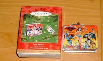 HALLMARK 2000 SUPER FRIENDS Lunch Box Set Ornament~Wonder Woman~Batman~Superman