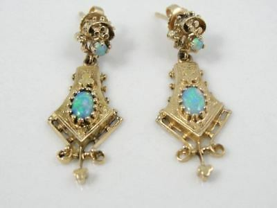 Long Victorian Revival Drop Earrings, Opal Gothic Style