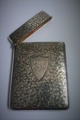 Ornate English Sterling Silver Card Case by William Aitken 1902