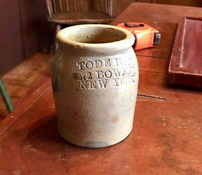 RARE TODE BROTHERS  of NEW YORK STONEWARE OYSTER JAR. As made condition