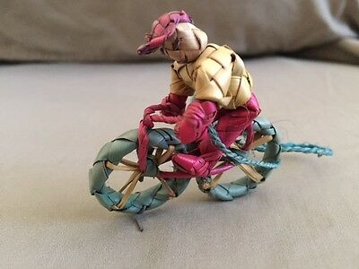 Vintage Mexican Folk Art Woven Palm Grass Miniature Man on Bicycle Ornament