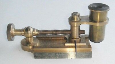 Antique Brass Textile CASARTELLI Microscope Magnifier Thread Counting Scale