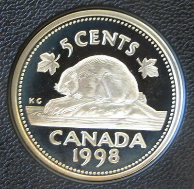 Sterling 92.5% Silver 1998 Canada 5 Cent Nickel - Beaver - Proof