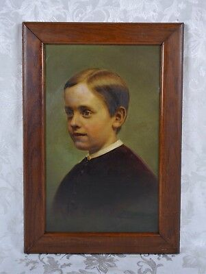 Fine Antique 19th Century Portrait Oil Painting of a Handsome Young Man Boy