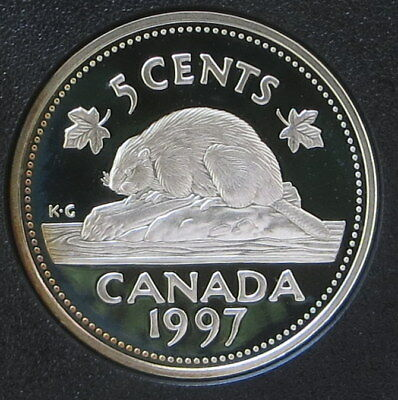 Sterling 92.5% Silver 1997 Canada 5 Cent Nickel - Beaver - Proof