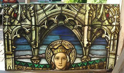 "Antique Gothic Stained Glass Window Of St Elizabeth 50 X 36"".  1920's - Jrp8749"