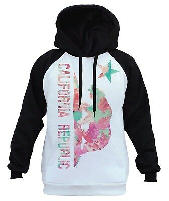 New California Republic Raglan Hoodie sweatshirt cali ca bear flag dope swag la