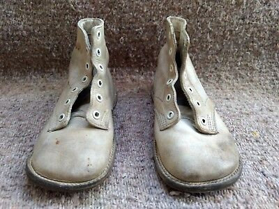 Baby Shoes Boots Pair of Antique White Leather Child or Doll Vintage High Top