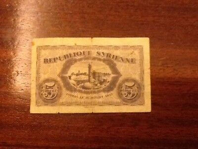 Paper Money lebanon and syria 1939 lot of 5 pieces,rare to have