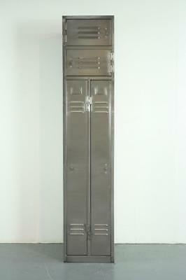 Vintage Industrial Stripped And Polished Steel School Locker Cabinet #2159