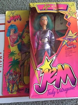 Jem and & The Holograms Aja Doll Hasbro Vintage 80s Toy 1985 Outfit Blue Hair