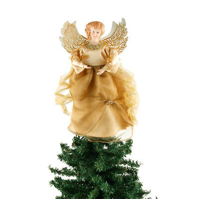 Organza Angel Christmas Tree Topper, Gold, 9-Inch