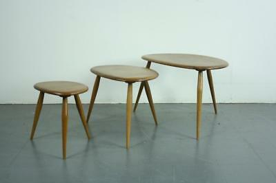 ERCOL NEST BLONDE PEBBLE TABLES COFFEE OCCASIONAL VINTAGE MIDCENTURY 60s #2157