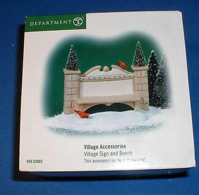 Dept 56 Village Accessory - Village Sign and Bench